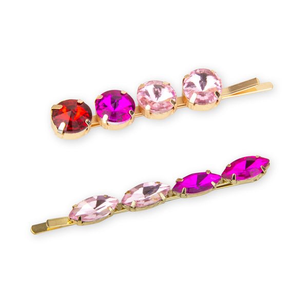Jewelled Hair Clips in Purple