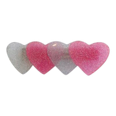 Hearts Hair Clip Pink and Silver