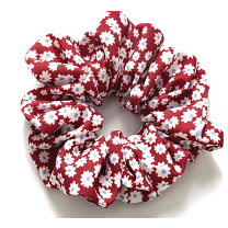 Floral scrunchie in red