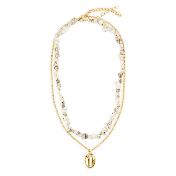 Shell and gold chain necklace