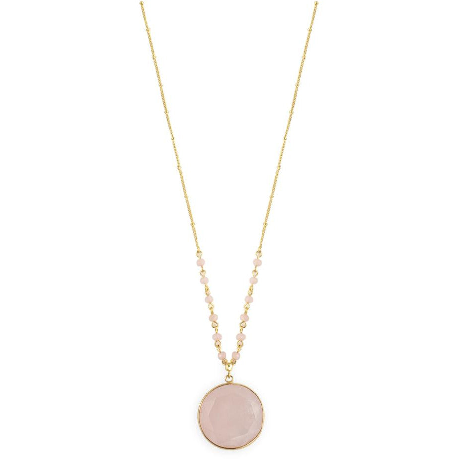 Chicago Necklace in gold and Pink quartz by Mint and Moss