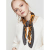 Pleated Tiger Print Faux Silk Scarf