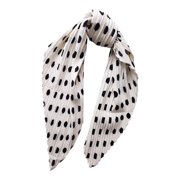 Pleated Polka Dot Faux Silk Scarf