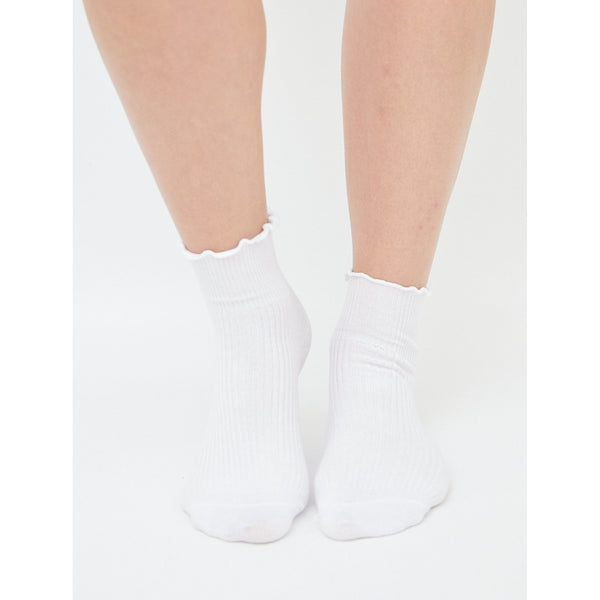 Frill Ribbed Socks White