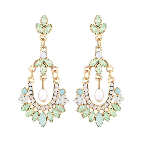 A chandelier style green and gold earring by Mint and Moss