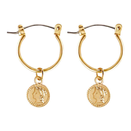Penny Earrings in Gold Coin Statement Earrings by Mint and Moss