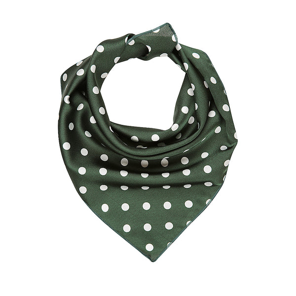 Headscarf - Green & white polka dots