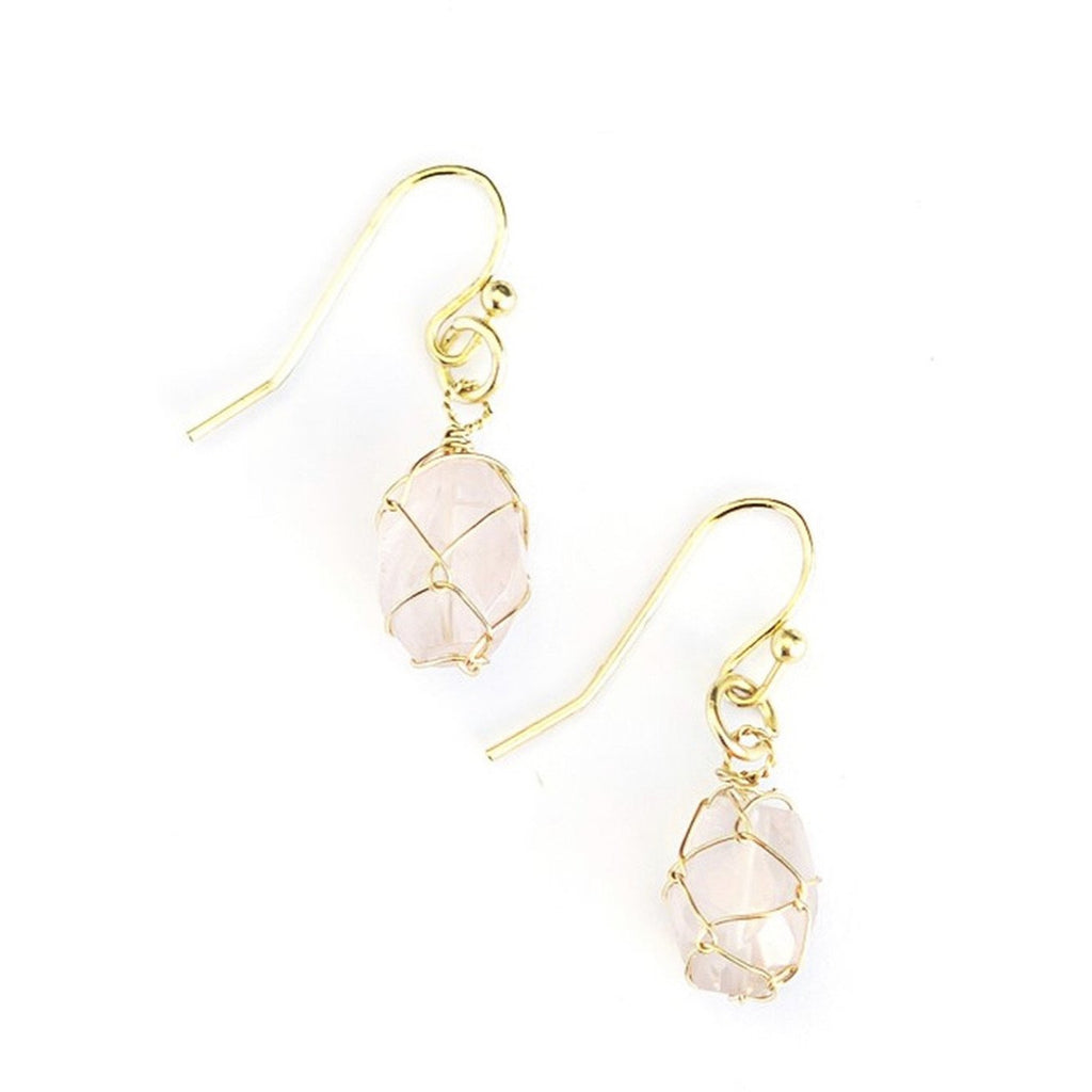 Pink Stone Wrap Earrings