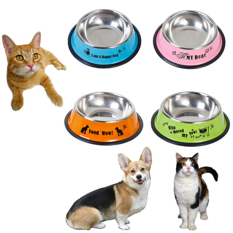 4 Style Pet Bowls Stainless Steel Anti-skid Pet Dog Cat Food Water Bowl Dish Pet Feeding Bowls Food Storage Container 15.5cm Dia