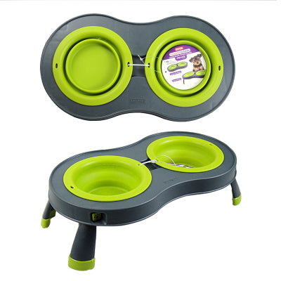 double  folding pet bowl  with stand