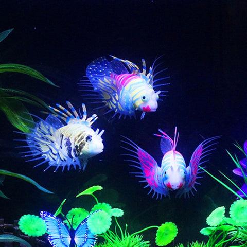 Glow In The Dark Artificial Aquarium Lionfish Ornament Fish Tank Jellyfish Decor