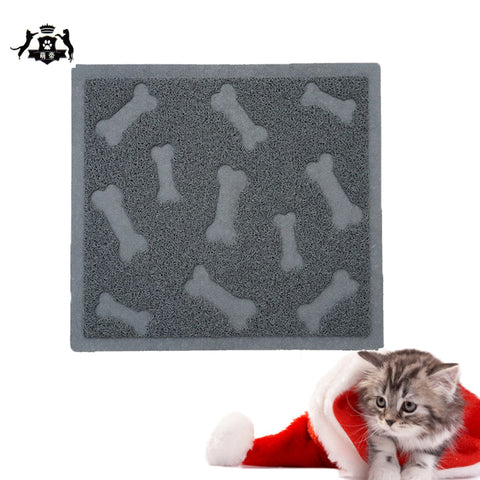 "Bone Pattern Cat Litter Mat 23""x17"" Scatter Control Kitty Litter Mats for Cats Tracking Litter Out of Their Box Soft to Paws"