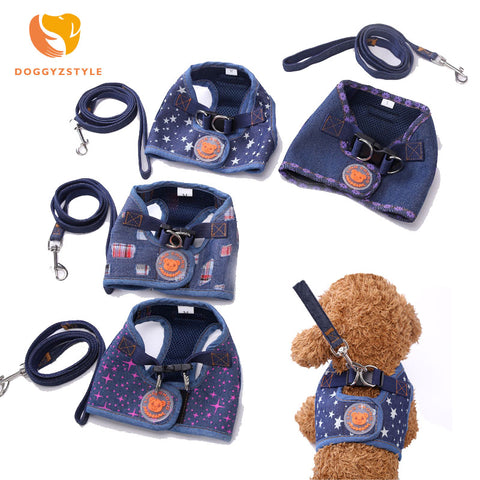 Breathable Jean Cloth Dog Harness Star Flower Printed Vest  Leash Lead Collar Set 4 Styles Pet Supplies Chihuahua DOGGYZSTYLE