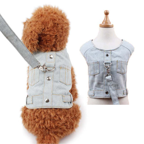 Denim Dog Vest Harness Puppy Leash Set Simple Fashion Pet D Ring Jacket Coat for Small Dogs Cats Pet Supplies Dog Accessories