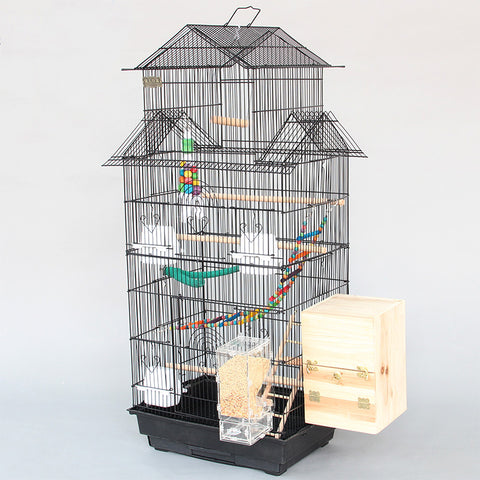 Large Triple Inclined Roof Design Bird Cages Houses Metal Parakeet Cockatiel Parrot Cage With Bird Chewing Biting Toys A11