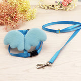Pet Supplies Small Dog Puppy Cat Basic Lead Leashes Harness Collar Cute Angel Wings Nylon Fabric Solid Adjustable 5Colors 2Sizes