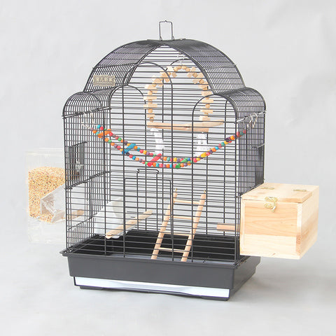 European Dome Big Large Bird Cages Houses Black White Metal Iron Parakeet Cockatiel Parrot Cage Birds Aviary Pet Carrier A26