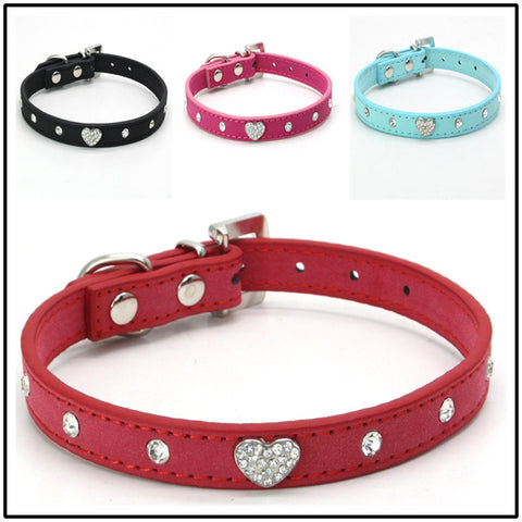 Small Cats Dogs Collars Rhinestone Heart Animals Necklace For Pet Puppy Personalized Accessories Chihuahua Supplies coleira gato