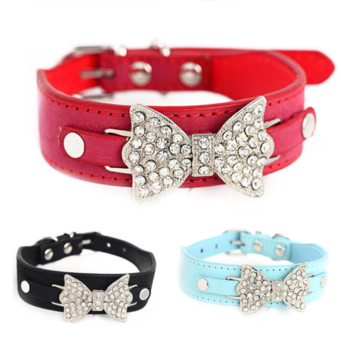 Small Cats Dogs Collars Rhinestone Breakaway Animals Bow Accessories For Pet Puppy Necklace Chihuahua Supplies Personalized hund
