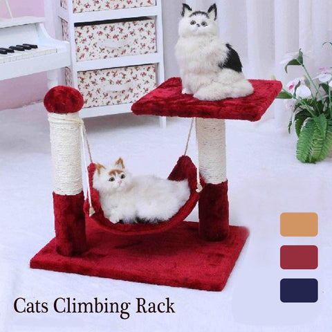Double Layers Pet Cat Climbing Rack Plush Sisal Kitten Interactive Playing Toys Scratching Post Stand Cat Accessories 3 Colors