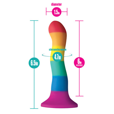"6"" Colours Wave Silicone Dildo - Pride"