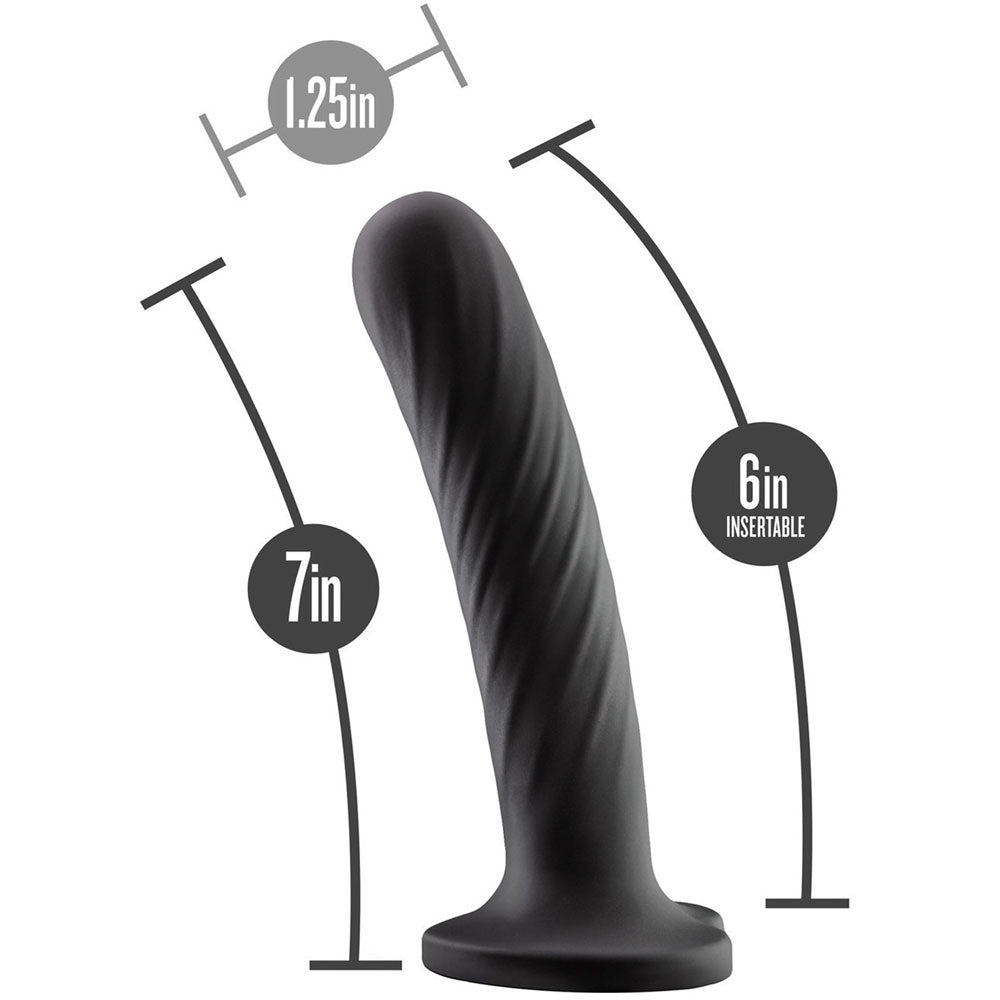 "7"" Blush Temptasia Twist Large Dildo - Black"