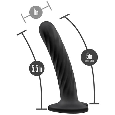 "5.5"" Blush Temptasia Twist Medium Dildo - Black"