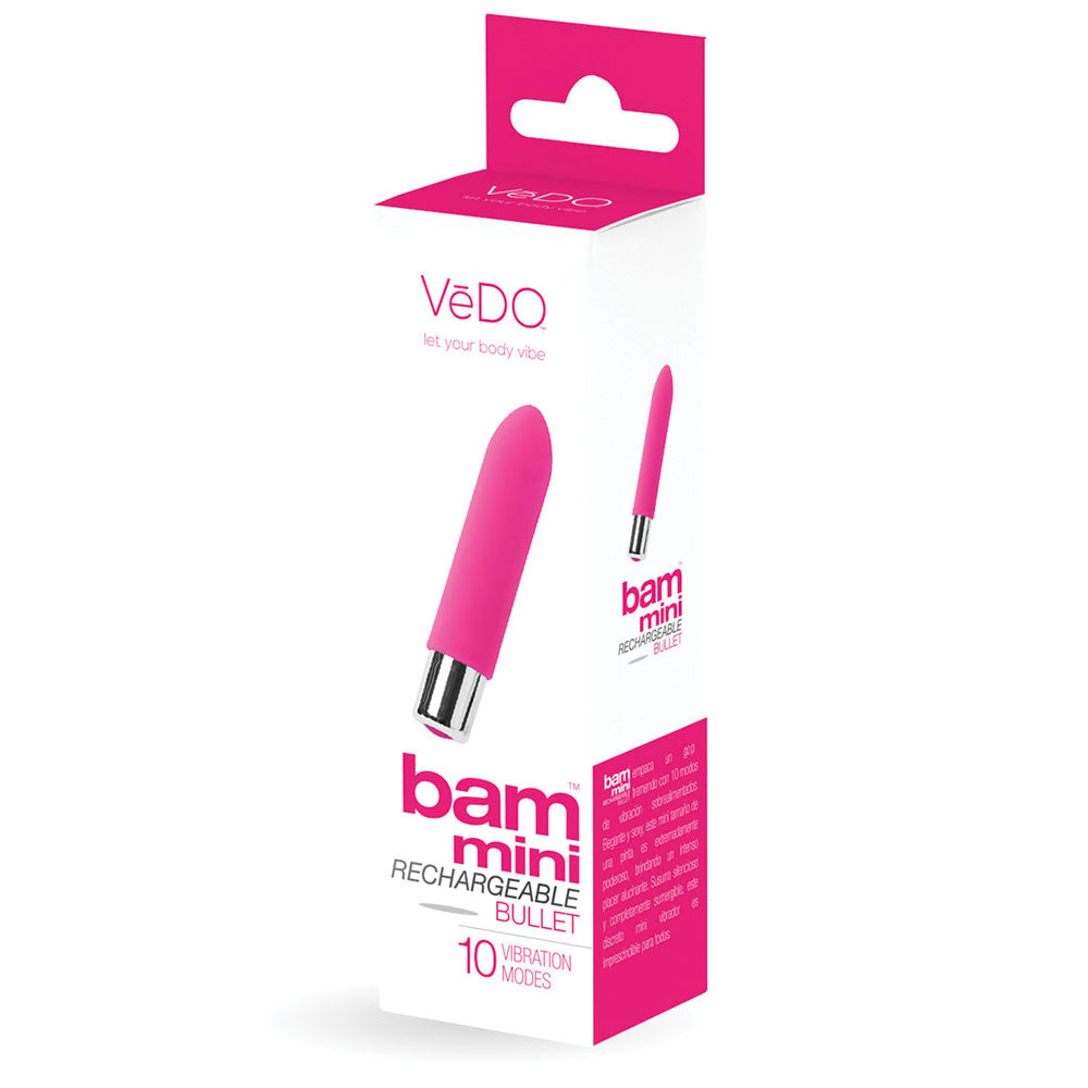 Bam Mini Silicone Bullet Vibe by Vedo - Rechargeable - Hot Pink
