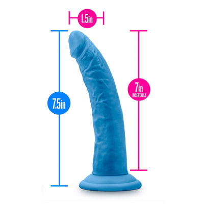 "7"" Neo Elite Silicone Dual Density Dildo - Blue"