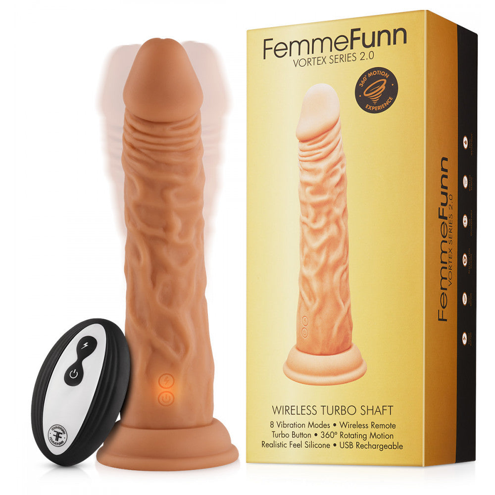 Femme Funn Wireless Remote Control Turbo Shaft Dildo - Vanilla