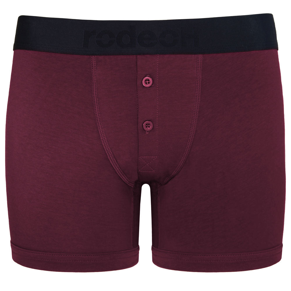 Top Loading Button Fly Boxer Packing Underwear - Claret