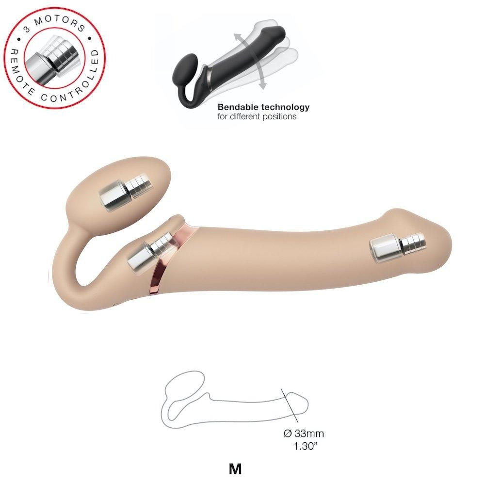 Strap-on-Me Double Ended Vibe Remote Control - Medium - Vanilla