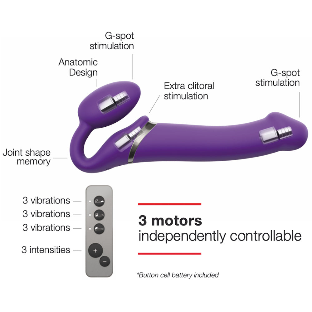 Strap-on-Me Double Ended Vibe Remote Control - Medium - Purple