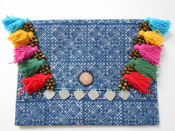 A-008 HANDCRAFTED PURSE/IPAD COVER/ CLUTCH BAG TRIBAL BATIK FABRIC