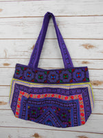 BM-003 DIAMOND HMONG EMBROIDERED HILL TRIBE TOTE SHOULDER BAG