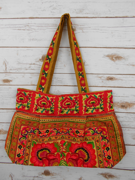BM-004 ORANGE FLOWERS HILL TRIBE TOTE SHOULDER BAG