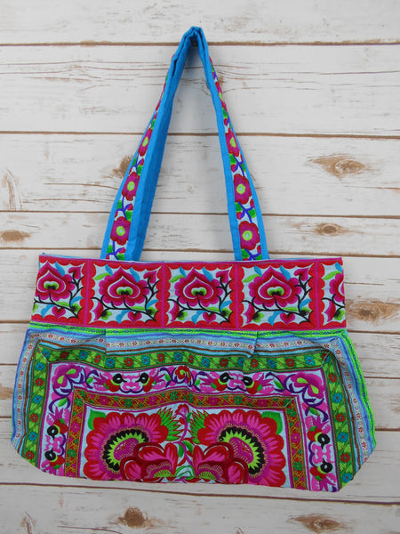 BM-005 BLUE FLOWERS HILL TRIBE TOTE SHOULDER BAG