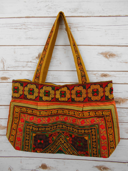 BM-006 DIAMOND HMONG EMBROIDERED HILL TRIBE TOTE SHOULDER BAG