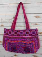 BM-011 DIAMOND HMONG EMBROIDERED HILL TRIBE TOTE SHOULDER BAG