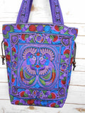 BN-001 PURPLE BIRDS PATTERN HILL TRIBE TOTE SHOULDER BAG