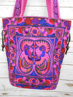 BN-002 PINK BIRDS PATTERN HILL TRIBE TOTE SHOULDER BAG