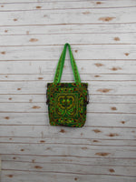 BN-003 GREEN BIRDS PATTERN HILL TRIBE TOTE SHOULDER BAG