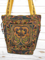 BN-004 MOCHA BIRDS PATTERN HILL TRIBE TOTE SHOULDER BAG