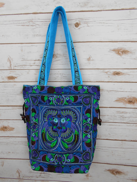 BN-005 BLUE BIRDS PATTERN HILL TRIBE TOTE SHOULDER BAG