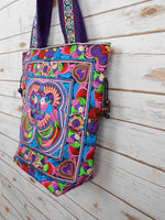 BN-006 MULTI BIRDS PATTERN HILL TRIBE TOTE SHOULDER BAG
