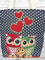 BR-001 HAPPY OWL FAMILY TOTE SHOULDER BAG IN BLUE