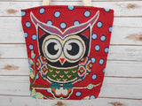 BR-003 HAPPY OWL FAMILY TOTE SHOULDER BAG IN RED