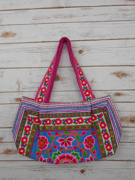 BS-002 WORM TOTE SHOULDER BAG WITH HMONG EMBROIDERED FLAT STRAPS (S)
