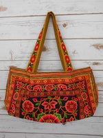 BS-003 YELLOW WORM TOTE SHOULDER BAG WITH HMONG EMBROIDERED FLAT STRAPS (S)