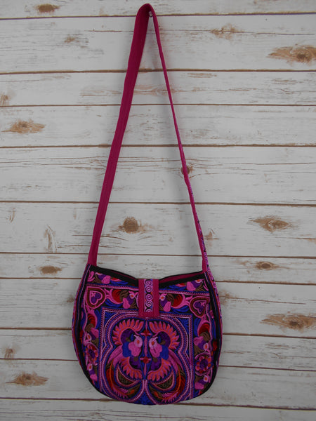 CB-001 PINK BIRD HILL TRIBE CROSSBODY BAG